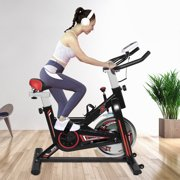 URHOMEPRO Exercise Bike, Stationary Indoor Cycling Bike for Home Gym, Fitness Exercise Bike with LCD Display Monitors, Bottle Holder, Adjustable Seat Stationary Bike Exercise Equipment 330 lb, Q13475