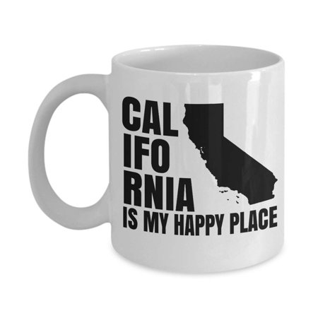California Is My Happy Place Map Art Coffee & Tea Gift Mug, Souvenir, Pantry Ceramic Cup, Home Décor, Ornament, Accessories, Products And Unique Novelty State Of California Themed Housewarming