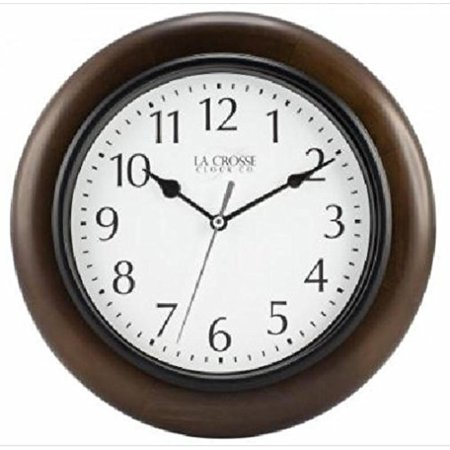 10 Inch Wood Metal and Glass Round Battery Wall Clock By La Crosse Technology ()