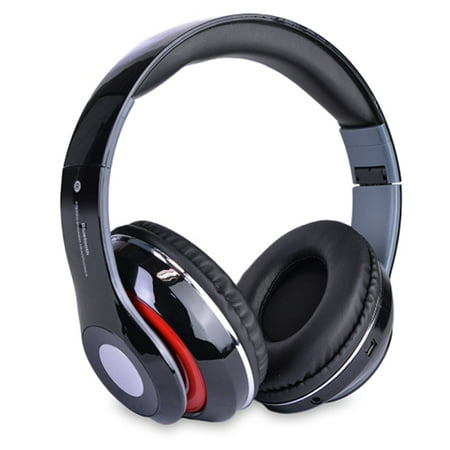 Bluetooth Rechargeable Over Ear Headset Foldable Wireless Wired Headphones with Memory Card Slot Built-In FM Tuner Microphone Audio Cable for Phone TV Computer MP3