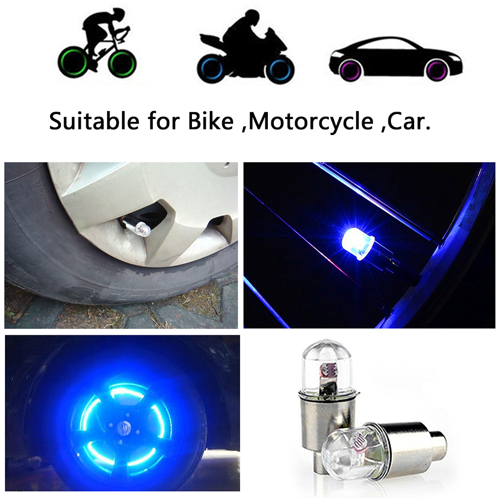 1 Pair LED Cycling Bike Bicycle Neon Car Wheel Tire Valve Caps Wheel Lights