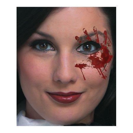 Halloween Bloody Eye Makeup (Bloody Hand Temporary Face Eye Tattoo Mask Costume)