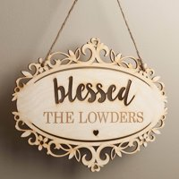 Blessed Personalized Hanging Wood Plaque