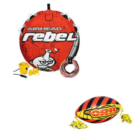 Airhead Rebel 1 Person Towable Tube Kit w/ Airhead 60-Foot Towable Rope Ball - image 1 of 12