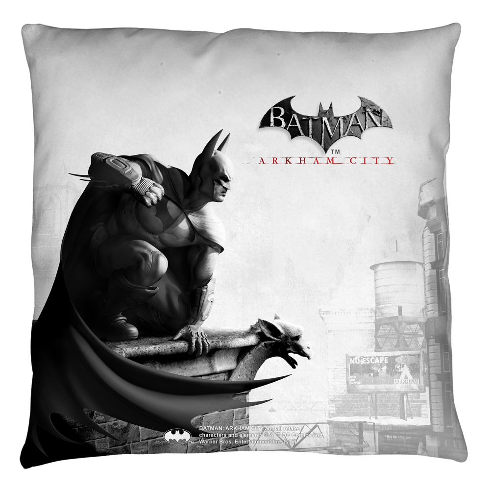Batman Arkham City Ac Logo Throw Pillow White 14X14