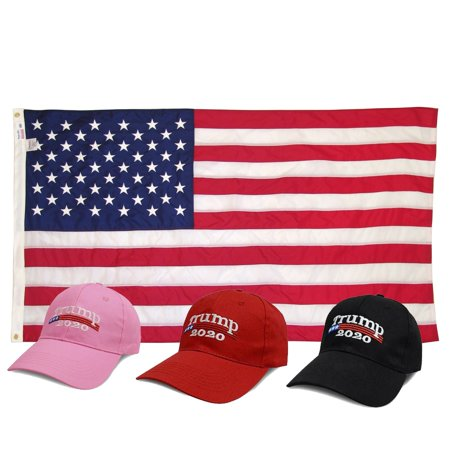 American Bundle Trump 2020 President Make America Great Again MAGA Baseball Cap Hat Keep America Great Again Mens Womens Hat - Black + 3 x 5 American (American Hat)
