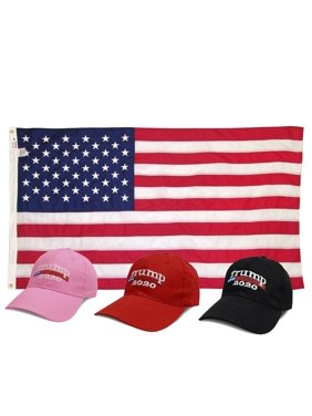 American Bundle Trump 2020 President Make America Great Again MAGA Baseball Cap Hat Keep America Great Again Mens Womens Hat - Black + 3 x 5 American Flag