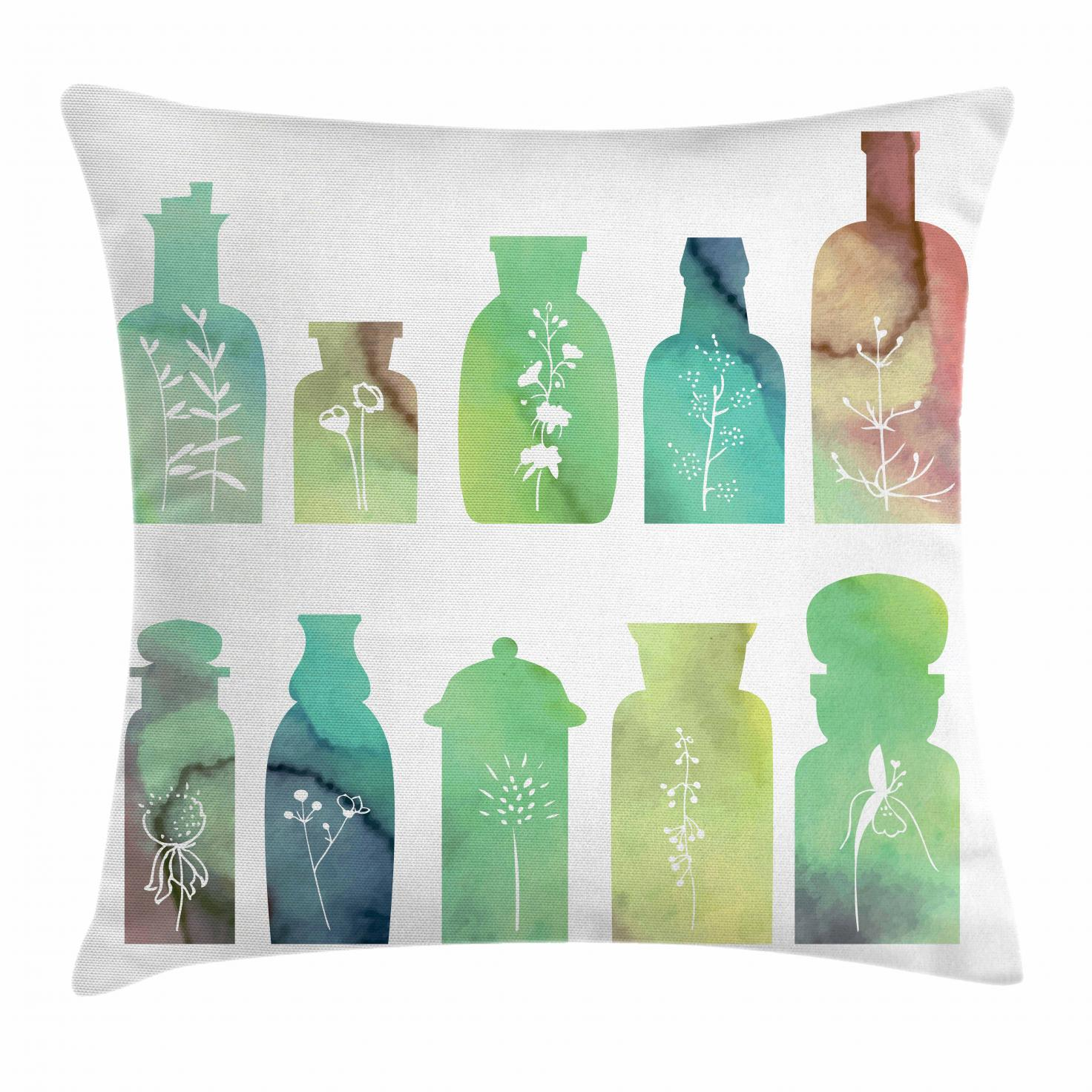 Apothecary Throw Pillow Cushion Cover, Vintage Watercolor Botanical Herbal  Treatment Bottles Medicine Aromatic Nature, Decorative Square Accent Pillow
