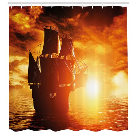 Pirate Ship Shower Curtain Ancient Sailing On The Ocean At Sunset In Full