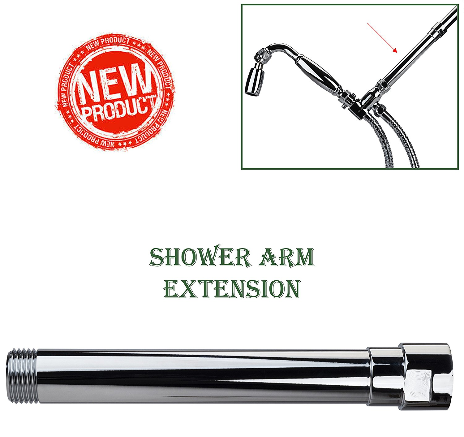 High Sierra Showerheads® Exclusive All Metal Shower Arm Extension  Lowers  Existing Shower Head