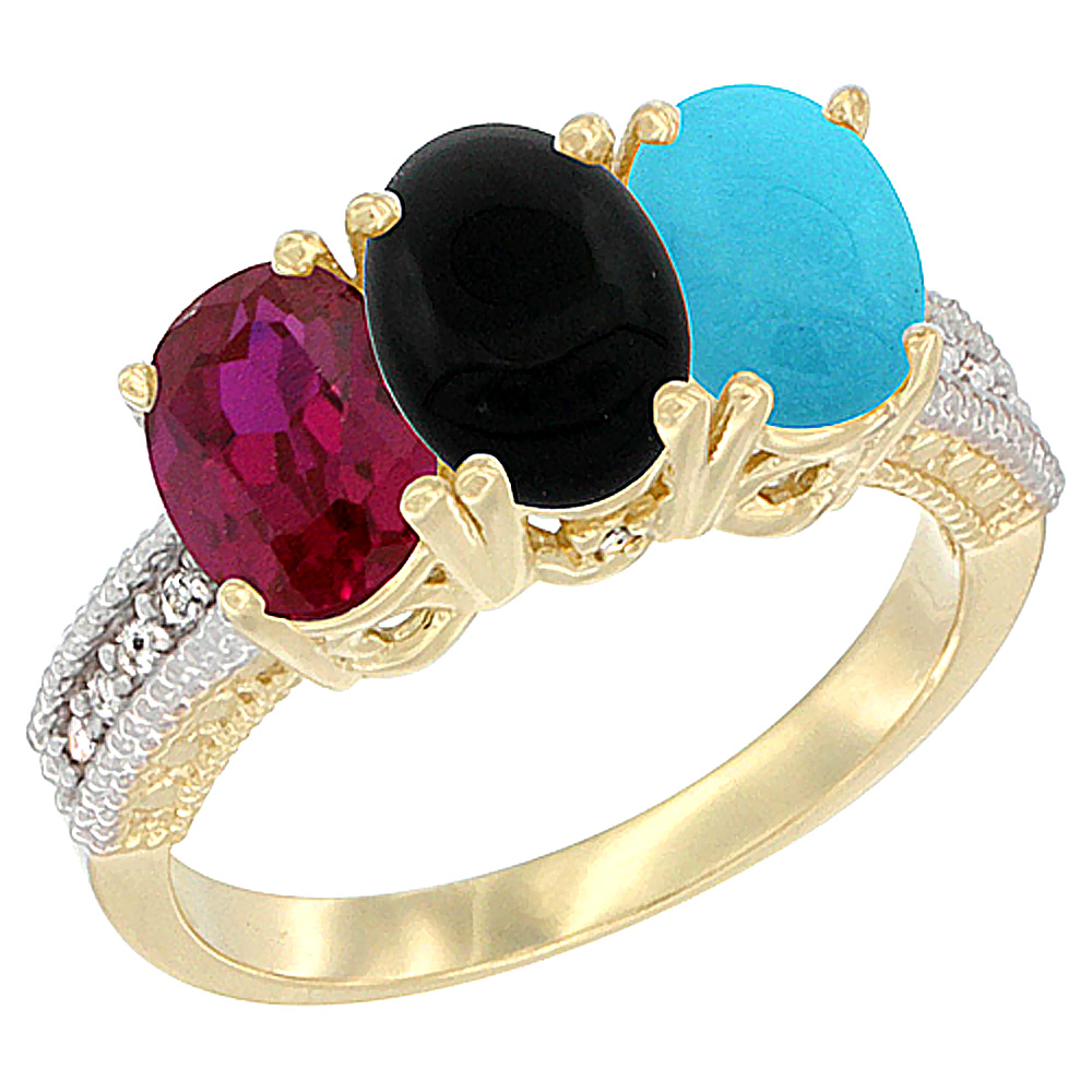 10K Yellow Gold Enhanced Ruby, Natural Black Onyx & Turquoise Ring 3-Stone Oval 7x5 mm, sizes 5 10 by WorldJewels