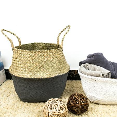 Woven Foldable Storage Plant Basket,  Plant Basket For Dirty Clothes Fruit Toys Nordic Style Plant Flower Pots Home Kitchen Organizer