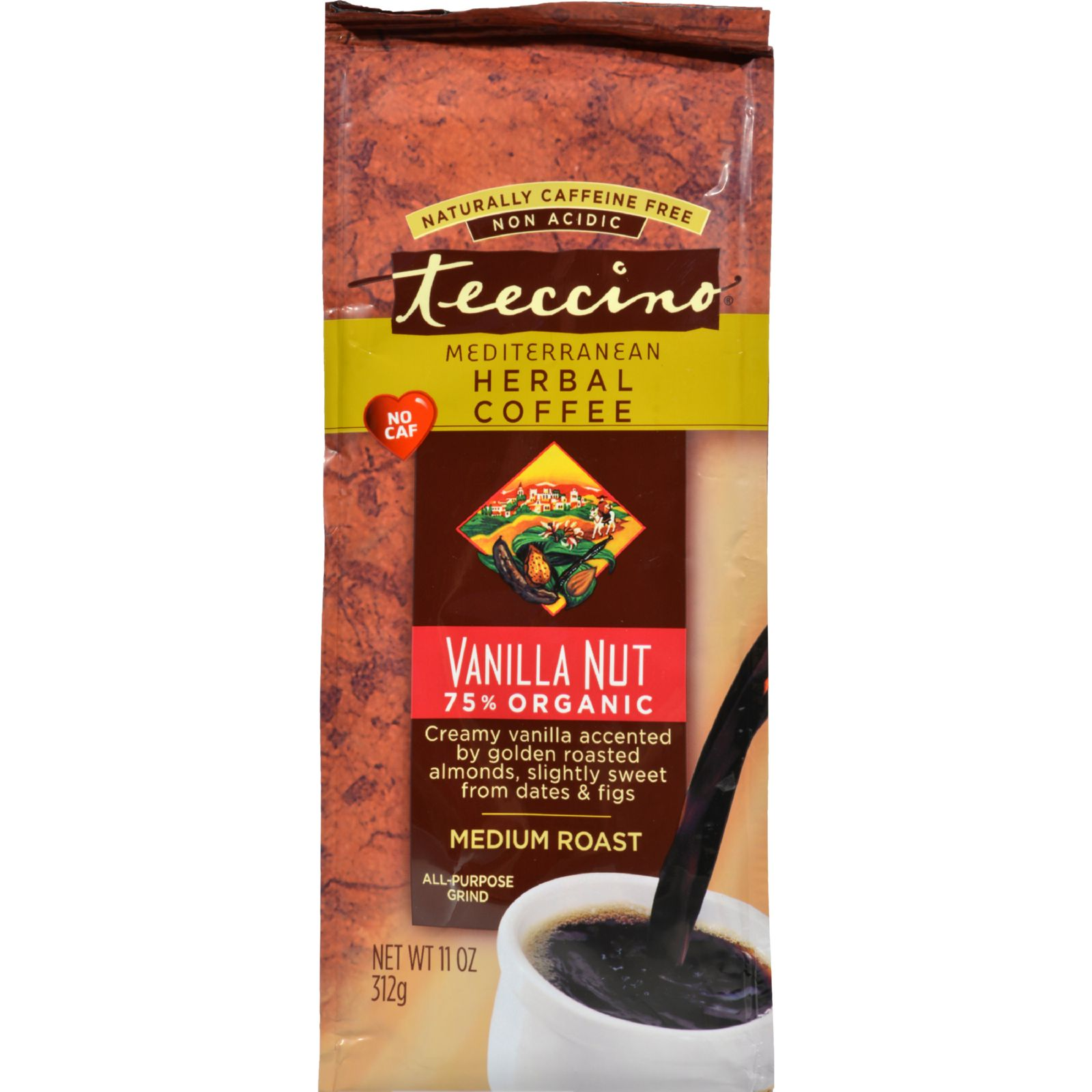 Teeccino 80010 Herbal Coffee Vanilla Nut 11 oz Powder