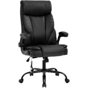 Office Chair Ergonomic Desk Chair Massage Computer Chair with Lumbar Support Adjustable Armrest Task Chair Rolling Swivel PU Leather Executive Chair for Men (Black)