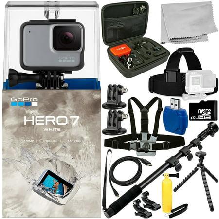 GoPro HERO7 HERO 7 White 15PC Accessory Bundle - Includes 32GB microSD Memory Card + High Speed Memory Card Reader + Heavy Duty Monopod +