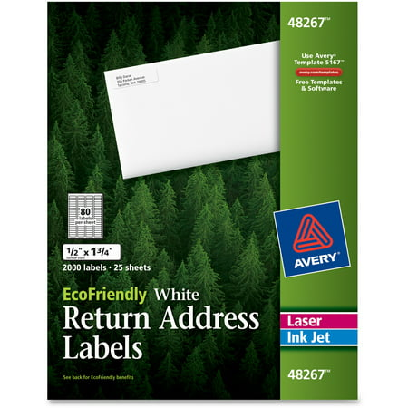 Avery EcoFriendly Laser/Inkjet Mailing Labels, 1/2 x 1 3/4, White, 2000/Pack