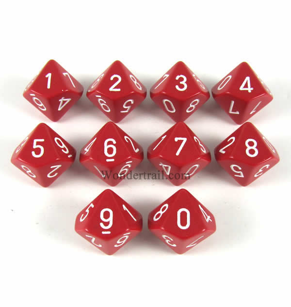 Red Opaque Dice with White Numbers D10 16mm (5/8in) Pack of 10 Dice Chessex