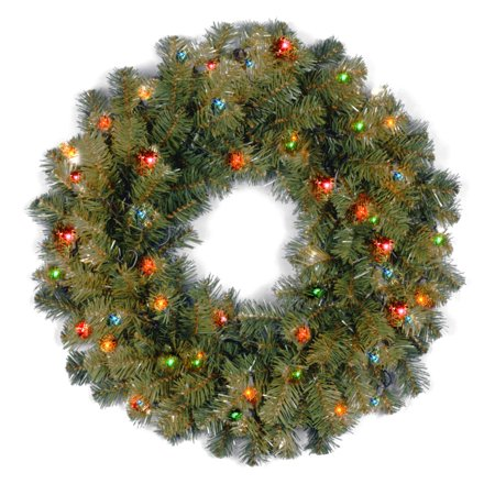 National Tree 24 Kincaid Spruce Wreath with 50 Multi Colored Lights
