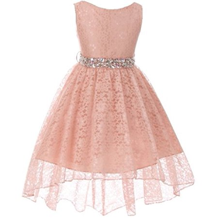 Big Girls' Sleeveless High Low Rhinestones Belt Pageant Flower Girl Dress Blush 10 (M3B6K0)