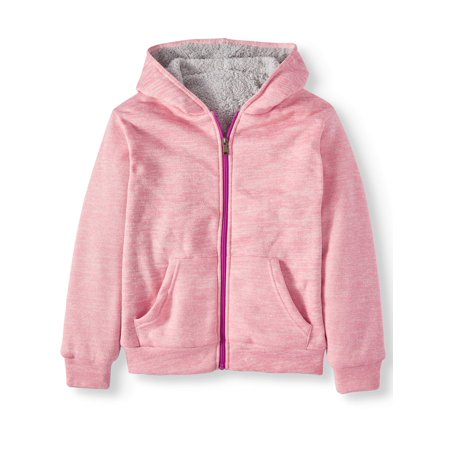 Water Resistant Zip Jacket (Marled Plush Zip Hooded Jacket with Sherpa Lining (Little Girls & Big)