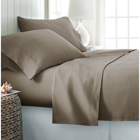 4-PC Taupe King Solid Bamboo Viscose Bed Sheet Set, Eco-Friendly, Deep Pocket, And Silky Soft With Extra Thick Corner Elastics Straps on Fitted