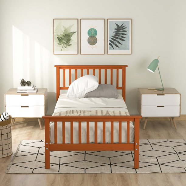 Platform Bed Frame, Modern Wood Platform Bed Frame with Headboard