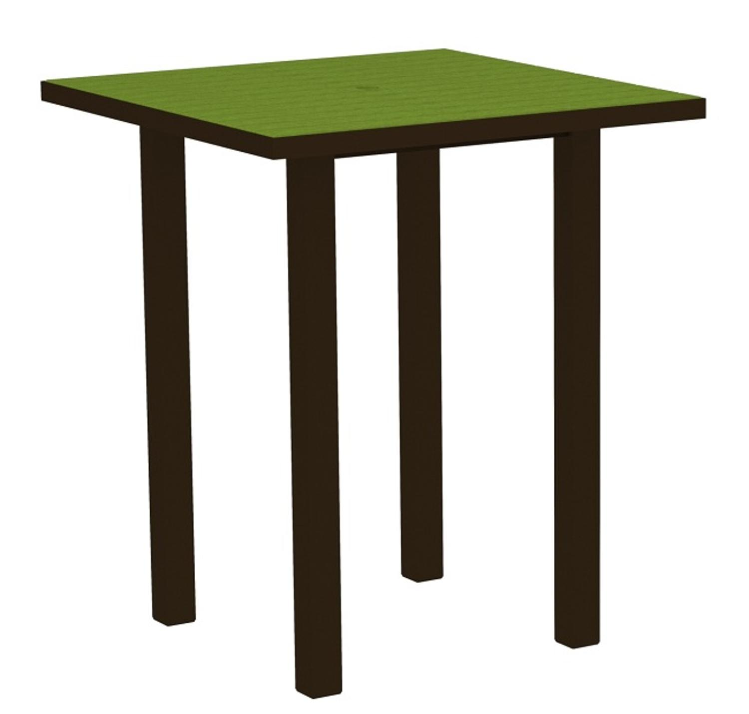 """36"""" Recycled Earth-Friendly Square Bar Table - Lime Green with Bronze Frame"""