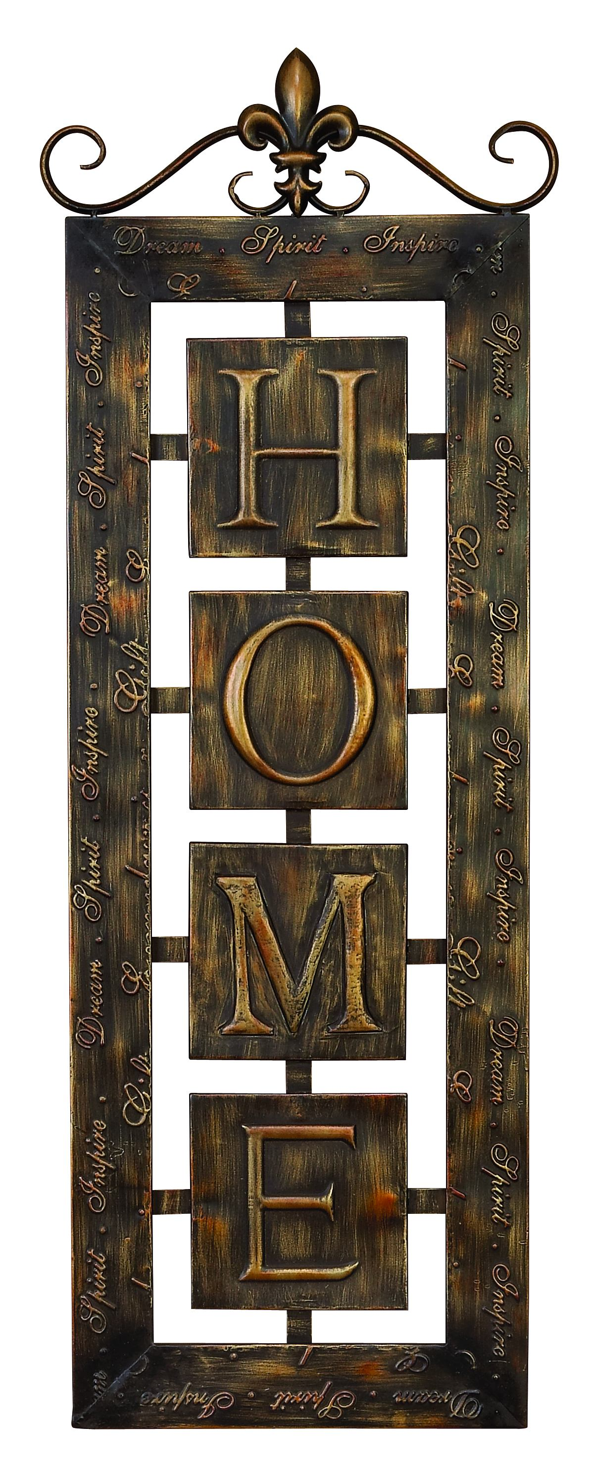 Metal Wall Plaque 'Home' An Intimate Wall Decor by Benzara
