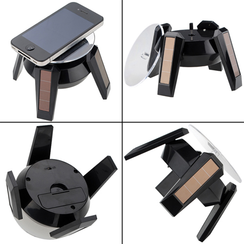 LED Solar 360 Rotating Display Stand Turn Table Plate for Jewelry Watch Phone by