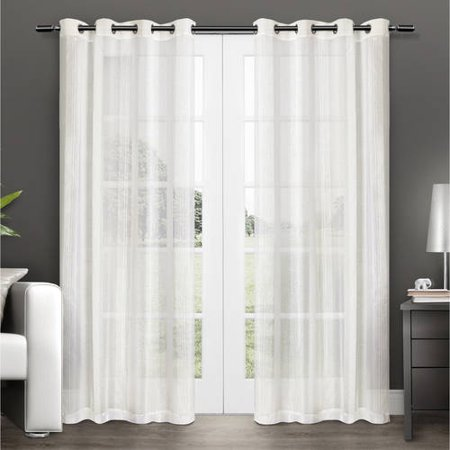 Exclusive Home Curtains 2 Pack Penny Sheer Grommet Top Curtain Panels ()