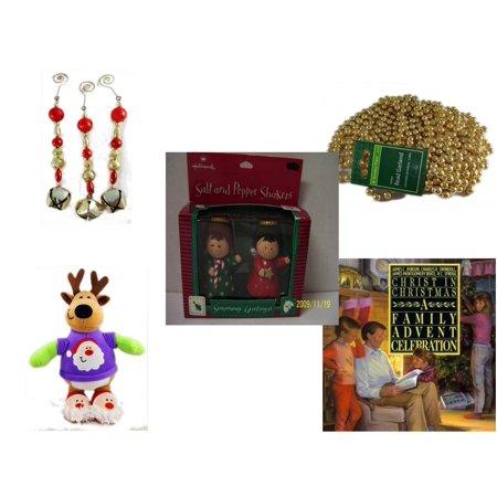 Christmas Fun Gift Bundle [5 Piece] - Set of 3 Jingle Bell Dangle Ornaments - Gold Bead Garland Strand 18