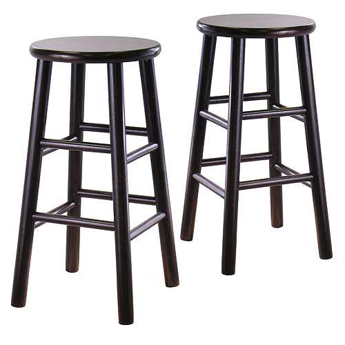 "Beveled Seat Counter Stools 24"", Set of 2, Espresso"