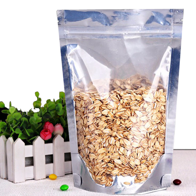 MTP 25X 12x17cm Stand Up Clear & Silver Aluminium Foil Reusable Zip Bag Food Save Mylar Metallic Resealable Clear/ Foil Zipper Lock Pouches