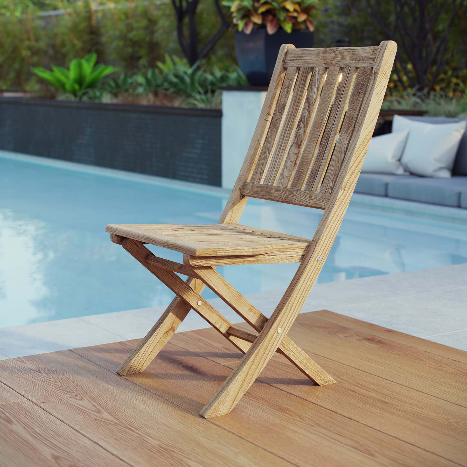 Modway Marina Outdoor Patio Teak Folding Side Chair in Natural