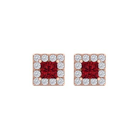 CZ Faceted Cut Ruby Square Halo Earrings 14K Rose Gold Faceted Rough Cut Ruby