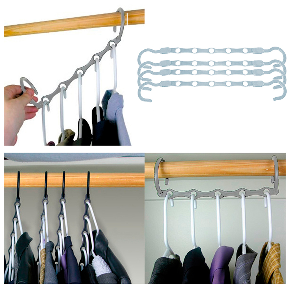AllTopBargains New Lot 4 Space Saver Wonder Magic Clothes Hangers Closet  Organizer Hooks Stand   Walmart.com