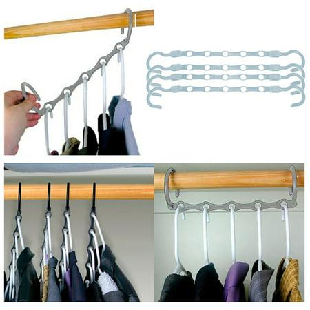 New Lot 4 Space Saver Wonder Magic Clothes Hangers Closet Organizer Hooks Stand