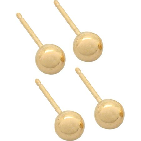 4 14K Yellow Gold Earrings Ball Stud Piercing Jewelry