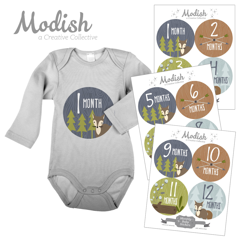 Modish Monthly Baby Stickers, Boy, Woodland Animals, Fox, Baby Photo Prop, Baby Shower Gift, Baby Book Keepsake