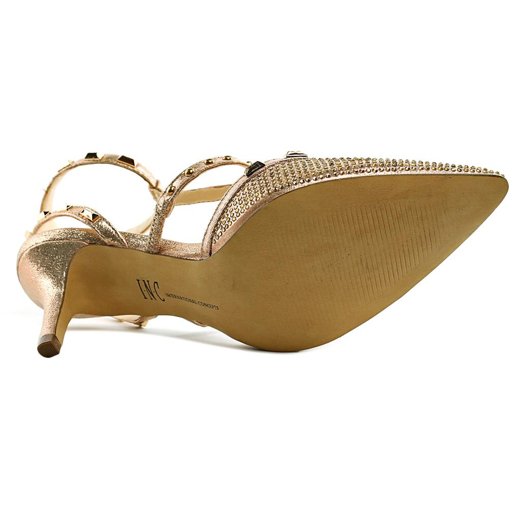 INC International Concepts Carma Women Pointed Toe Canvas Gold Slingback Sandal