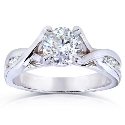Annello  by Kobelli 14k White Gold 1 1/5ct TDW Braided Diamond Engagement Ring