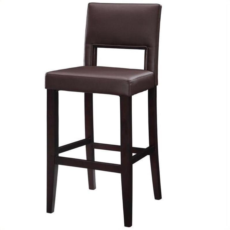 Linon Vega Bar Stool Dark Brown 30 Inch Seat Height