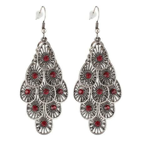 Vintage Style Red Rhinestone Teardrop Pendant Hook Earring Ear Drop Pair