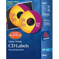 Avery(R) CD Labels, Print to the Edge, Permanent Adhesive, Matte, 40 Face Labels & 80 Spine Labels (8692)