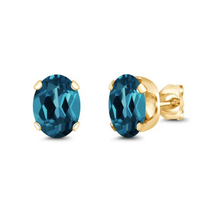 2.60 Ct Oval 8x6mm London Blue Topaz 18K Yellow Gold Plated Silver Stud (18k Yellow Gold Citrine Earrings)