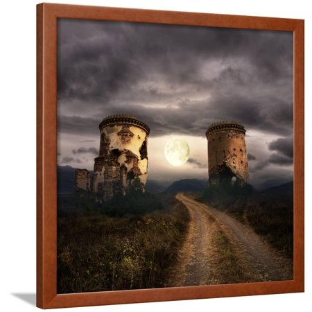 Halloween Background with Old Towers Framed Print Wall Art By KoTangens