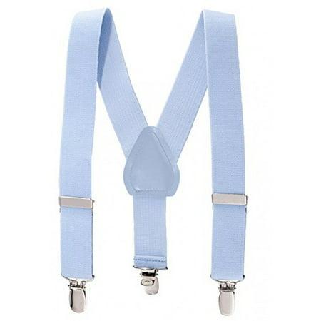 Neon Orange Suspenders (Suspenders for Kids Boys and Baby - Premium 1 Inch Suspender Perfect for Tuxedo - Light Blue)