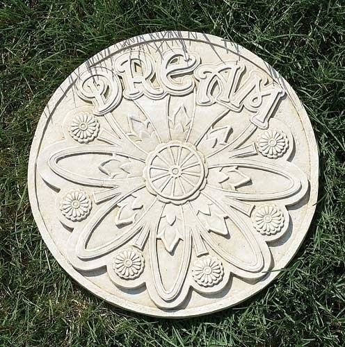 "11.75"" Taupe ""Dream"" Flower Decorative Round Garden Patio Stepping Stone"