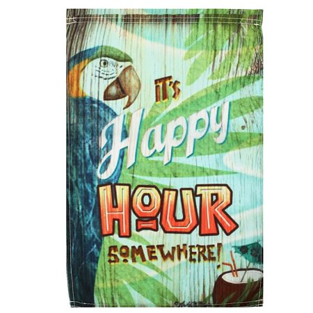 Moaere 12X18'' Spring Parrot Happy Hour Garden Flag Mini Yard Banner Display Home Decor