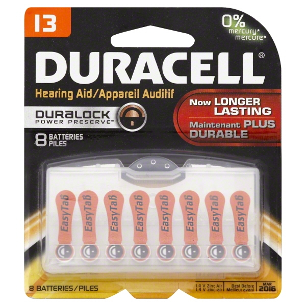 Duracell Hearing Aid Batteries with Easy-Fit Tab, Size 13, 8 Pack